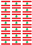 Lebanon Flag Stickers - 21 per sheet